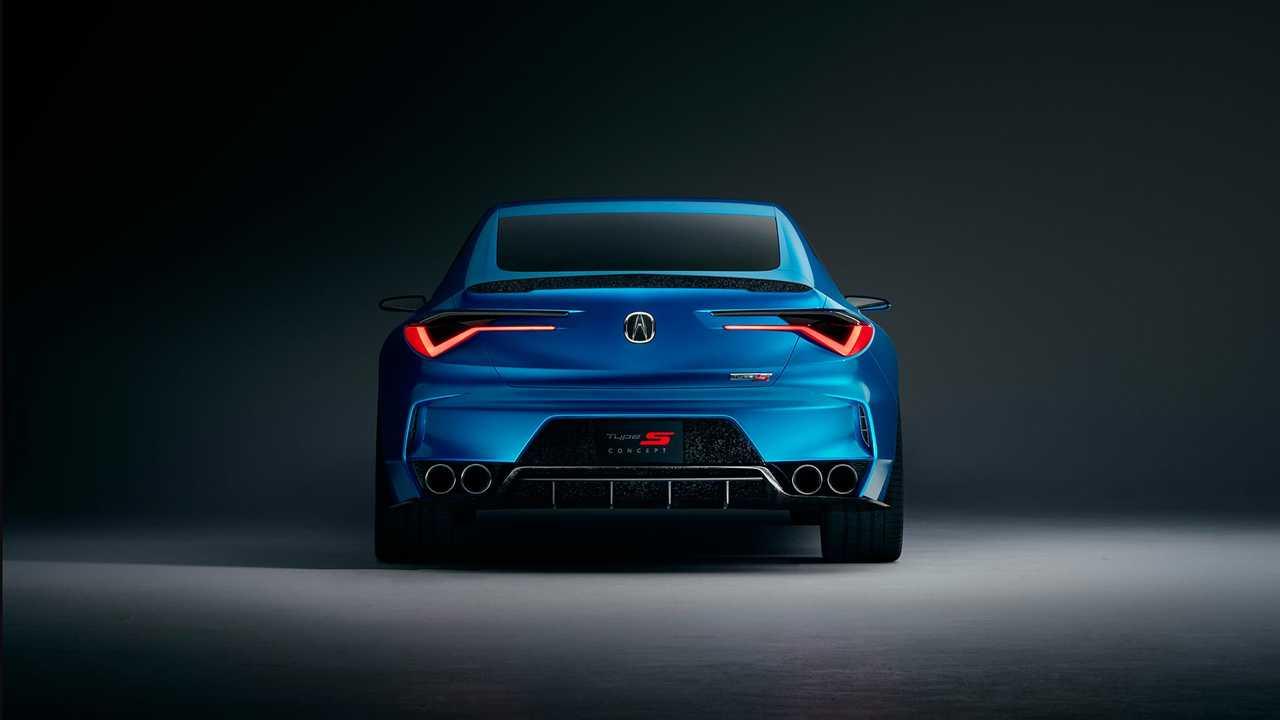 Acura TLX Type S 2021 azul visto por detrás